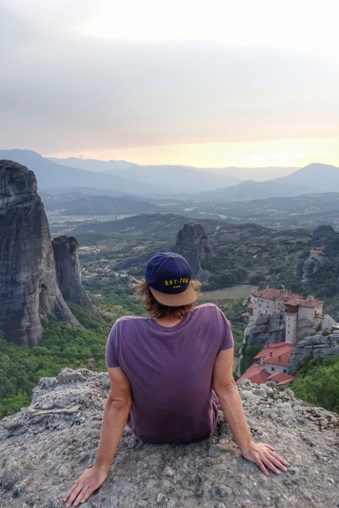 Sunset in Meteora, Greece looking over the valley at sunset