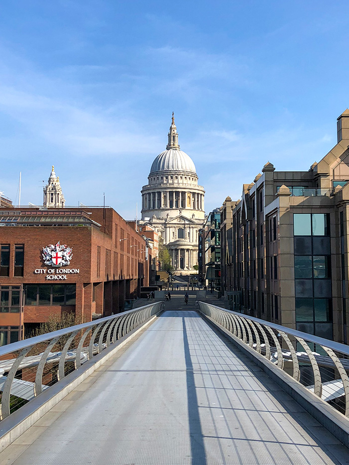 A view from the Millennium Bridge with Saint Paul's Cathedral in the background