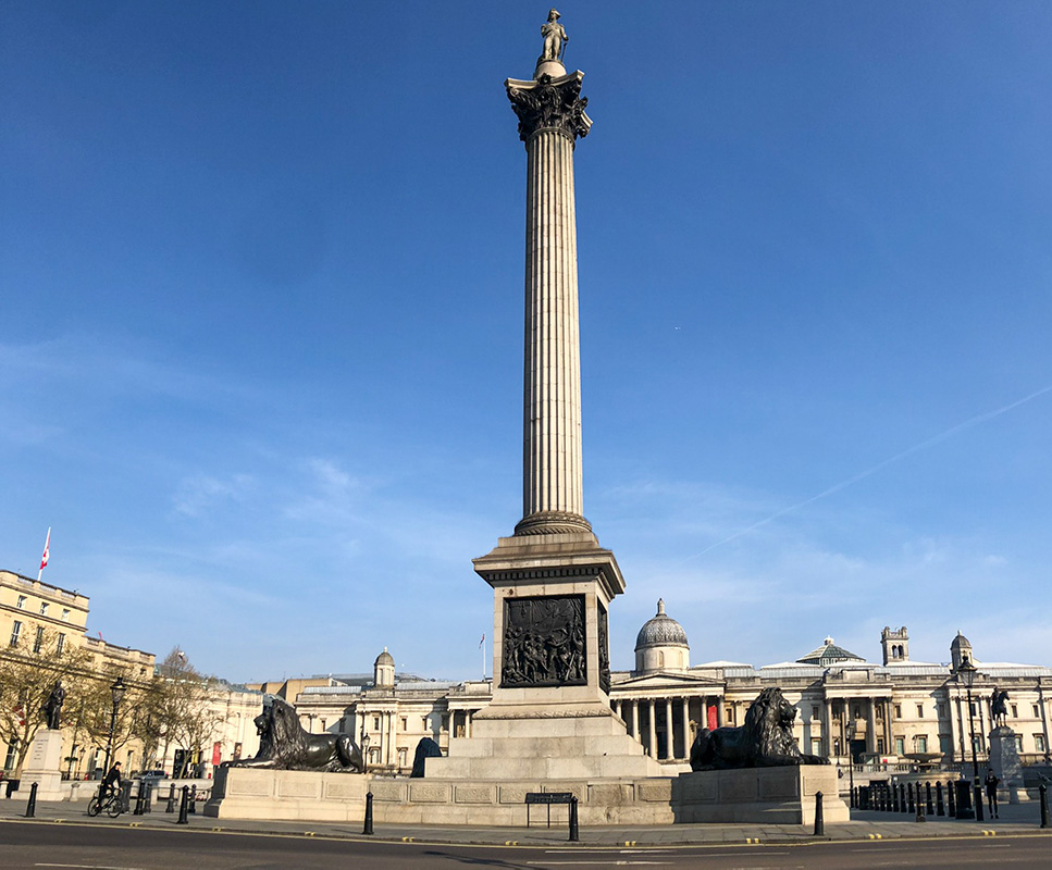 The famous Trafalgar Square, with the Nelson Column towering over two large status of lions.