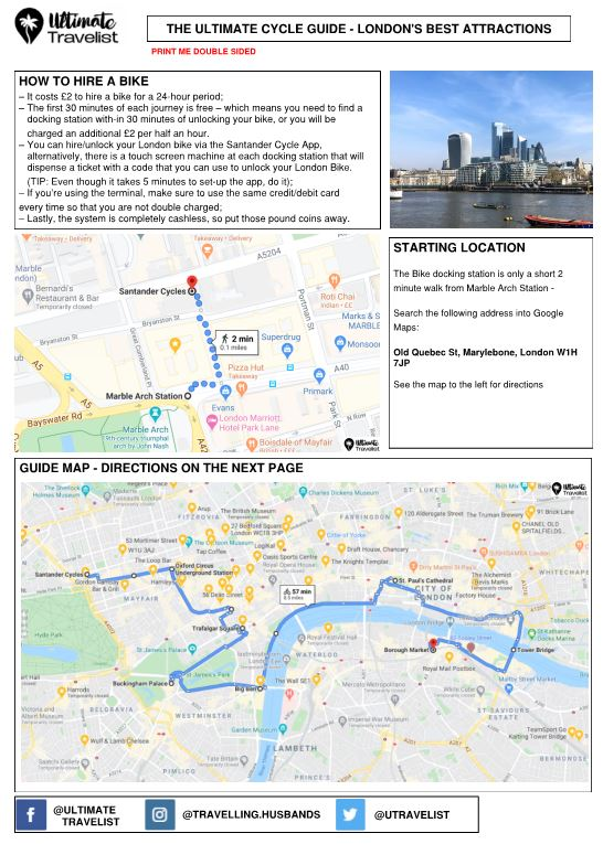 A preview of a guide of the best cycle route to take in London to see all of the best attractions in one day