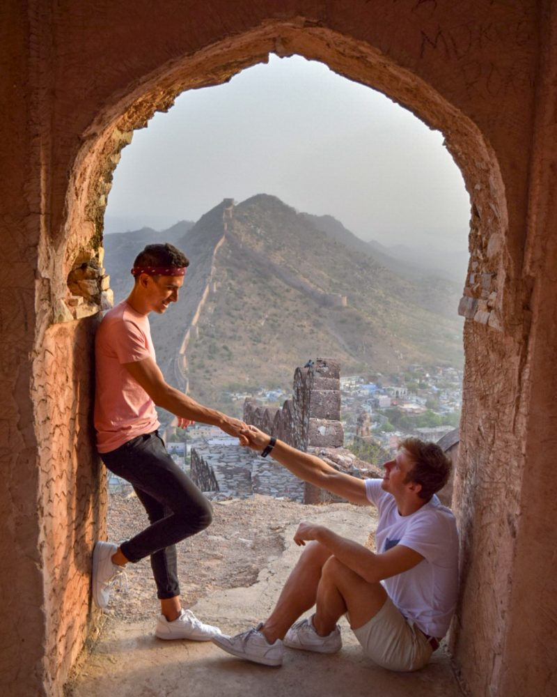 Luke and Craig exploring the breathtaking amber fort in India